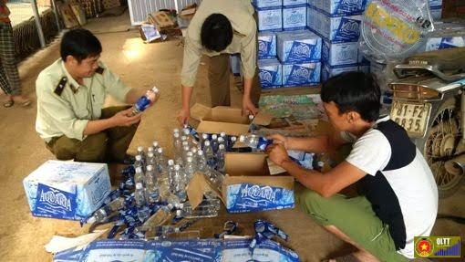 xử phạt cơ sở sản xuất nhái thương hiệu nước aquafina